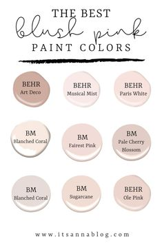 blush pink paint colors for a painted front door Nursery Paint Colors, Pink Paint Colors, Behr Paint Colors, Favorite Paint Colors, Paint Colors For Home, Bedroom Colors, House Colors, Office Paint Colors, Blush Pink Paint