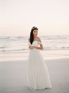 Chiffon and Lace Wedding Dress Ivory Silk by JillianFellers
