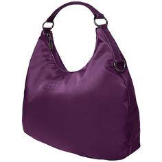 Lipault Paris Hobo Bag (M) ($115) ❤ liked on Polyvore featuring bags, handbags, shoulder bags, purple, water resistant purse, hobo shoulder bags, lightweight purses, hobo handbags and purple handbags