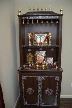 nithaudy_mandir – The Experimental Baker HomeMaker Temple Design For Home, Home Temple, Home Decor Hooks, Mandir Design, Indian Room, Nailart, Pooja Mandir, Pooja Room Door Design, Decoration For Ganpati