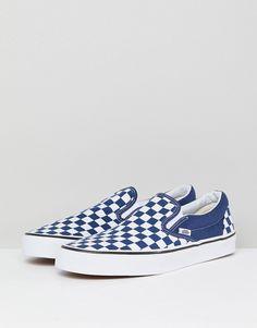 376a05a840 Vans Classic Checkerboard Slip-Ons In Blue VA38F7QCN