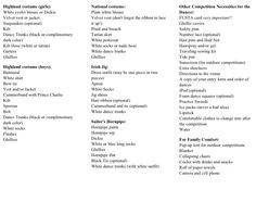 Highland dance checklist.