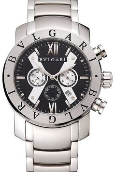 Bvlgari Diagono 46mm Black Dial Stainless Steel Case Ceramic Bezel Watch: Movement-Quartz (Battery), Quality-Japanese Miyota, Case-Polished stainless steel case, Back-Brushed stainless steel snap-in back with Bvlgari engravings