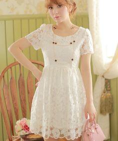 Girls Kawaii Trendy Princess Cute Sweet Dolly high waist Lace Dress White