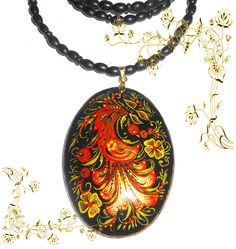 Pendant  in the Russian style khokhloma in handmade with Firebird by Artworkshop1 on Etsy