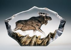 Majestic Crystal Moose with Hand Painted Accents. Available at AllSculptures.com