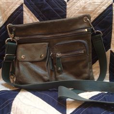 Fossil green/teal cross body I loved this bag, great color (muted green teal) perfect everyday size with pockets for keys and phone in front. It has been loved, the leather could use some cleaning and the inside is not pristine. Great fossil bag at a great price. Fossil Bags Crossbody Bags