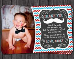 Mustache Thank You Card Mustache Birthday Thank by PuggyPrints