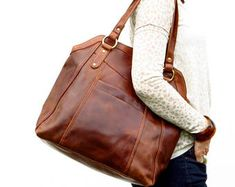 Large Brown Leather Handbag Tote