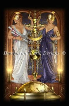 Tarot Justice - Painting by Ciro Marchetti.  Chart design by Michele Sayetta for Heaven and Earth Designs.