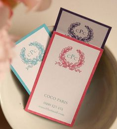 monogrammed wreath calling cards