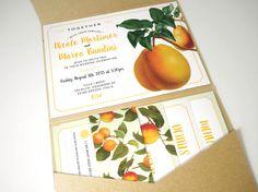 Orange Citrus Pocketfold Wedding Invitation Suite by VanillaRetro - #danishandmadewedding