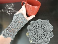 Ravelry: Doily Cuffs (wristlets) and Coaster pattern by Shannon Corcoran Family Traditions Crafts Crochet Crafts, Yarn Crafts, Crochet Projects, Knit Crochet, Crochet Designs, Knitting Designs, Knitting Patterns, Crochet Patterns, Crochet Wrist Warmers
