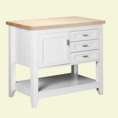 Strasser Woodenworks Tuscany 42 in. Kitchen Island in Satin White with Maple Top-49.500.2 at The Home Depot