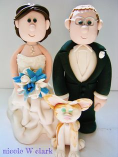 Adorable Cat Cake topper with bride and groom.  Cat love should not be forgotten on the wedding day.  Custom pet cake topper made by Nicole W Clark. www.nicolewclark.com  #pet cake topper #pet wedding #kitty wedding