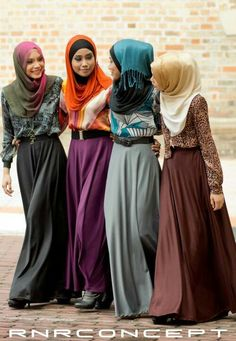 Love these outfits...but should be more loose and longer tops, longer hijab for more coverage, no belt...