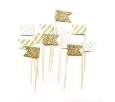 12 Gold Stripe, Glitter & Polka Dot Flag Cupcake Toppers - Washi Tape Cupcake Toppers, wedding, engagement, birthday, baby shower, tea party...