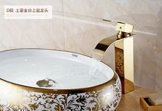 67.55$  Buy now - http://alitj6.worldwells.pw/go.php?t=32293026761 - high quality brass material gold plating cold and hot bathroom sink high water fall faucet basin mixer 67.55$