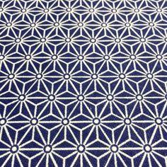 Tissu de coton japonais Saki - Motif Asanoha bleu roi & blanc