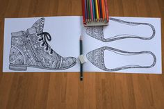 Shoes. Adult coloring book. 10 Printable pages. digital. boho