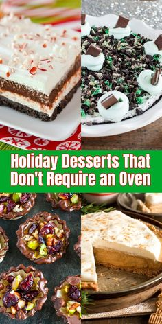 16 holiday desserts that don't require an oven dessert recip Holiday Baking, Christmas Desserts, Christmas Goodies, Christmas Cooking, Christmas Treats, Christmas Holidays, Dessert Cake Recipes, No Bake Desserts, My Recipes