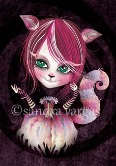 """♥ Cheshire Kitty ♥ © Sandra Vargas """"We are all mad here! From my Alice in Wonderland series. Cheshire Kitty is eerie, glamorous and wears a cute tutu in purples and pinks! This print is a reproduction of my original illustration, full of rich textures and details. Each print is signed and dated on back. Print size: 8.5 x 11 inches Matte finish ~ White Border (0.25 each side) *Frame is not included It is printed on professional Kodak Endura photo paper that will last forever sho..."""