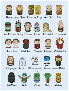 Personajes de Star Wars de punto de cruz.