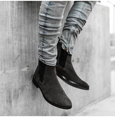 Handmade Men Charcoal color suede Chelsea boots, Men suede ankle high boots sold by Leather Art Shop more products from Leather Art 2020 on Storenvy, the home of independent small businesses all over the world. Chelsea Boots Outfit, Grey Suede Chelsea Boots, Mens Chelsea Boots, Mens Suede Boots, Gray Boots, Fall Boots, Women's Boots, Sneakers Mode, Sneakers Fashion
