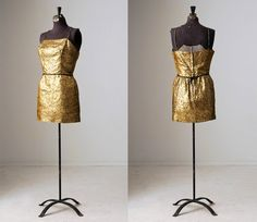 1960s gold and black floral print brocade cocktail dress by InPastTimes