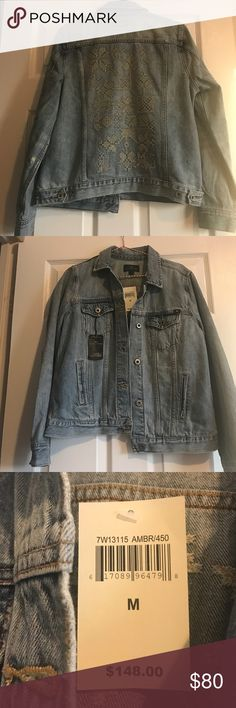 NWT || LUCKY BRAND Classic Denim Jacket w Stitch Jean jacket from Lucky Brand. Cross stitch detail on back makes this much more interesting that a typical jean jacket. Light blue wash. Lucky Brand Jackets & Coats Jean Jackets
