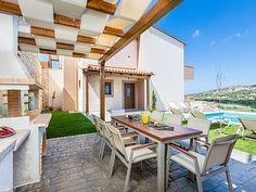Rethymno villa rental - BBQ facilities and outdoor dining area.