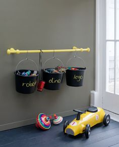 Cool organization/storage...that they can then take of the hook when its time to play!!
