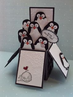 Stampin' Up - Owl Punch penguin - card in a box by paperecstasy.blogspot.com by marcie