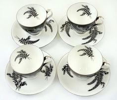 Vintage  1950s ROYAL ALBERT 4 X Tea Coffee Cup & saucer floral set black and white retro Night and Day Monochrome