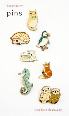 boygirlparty® pins are here! Uniquely illustrated enamel pins by artist Susie Ghahremani at http://shop.boygirlparty.com/ Pin Enamel, Lapels, Brooch Pin, Artist Fashion, Jacket Pins, Emblem, Otters, Cool Pins, Pin Collection