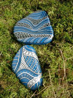Bemalte Steine - Blau