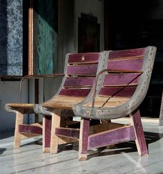 Italian design using recycled wood- love it! Outdoor Chairs, Outdoor Furniture, Outdoor Decor, Interior Decorating, Interior Design, Chair Bench, Recycled Wood, Sustainable Design, Recycling