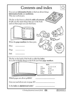 The table of contents and index can help you find information in a nonfiction book. In this reading worksheet, your child learns how to use these organizing elements of informational texts.