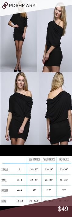 Black Off-Shoulder Slouchy Sweater Dress New with tags.  Super cute and comfy black off-shoulder mini dress with slouchy top and bodycon skirt with side zipper.  60% cotton 40% rayon.  Bought on here, just not flattering on me. uniq Dresses Mini