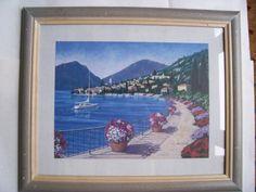 Vintage Art Print by D. J. Smith  ITALIAN COAST framed  23.5 x 19.5 by LIZ404 on Etsy
