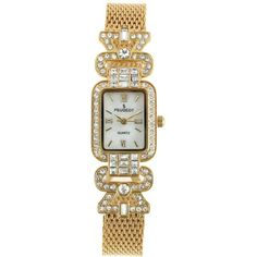 Peugeot Women's Crystal Bezel Gold-Tone Mesh Bracelet Watch ($74) ❤ liked on Polyvore featuring jewelry, watches, white, white watches, white bracelet watch, water resistant watches, white crown and gold-tone watches