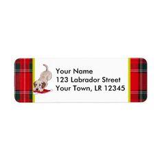 Yellow Labrador Puppy with Santa Hat Christmas Custom Return Address Label by Naomi Ochiai