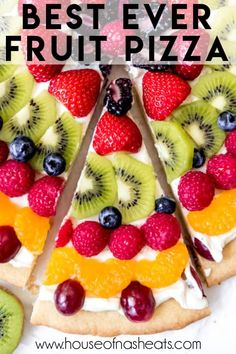 Soft sugar cookie with just a hint of lemon meets tangy cream cheese fruit dip and all the fresh fruit you can pile up in this Fruit Pizza recipe that is quick, easy to make, and is a guaranteed crowd pleaser. It's got the wow factor of a French Fruit Tart, but without the intimidation of making a tart crust and pastry cream filling! #fruit #pizza #dessert #recipe #easy #sugarcookie #withcreamcheese #Easter #glaze Tart Recipes, Fruit Recipes, Dessert Recipes, Cooking Recipes, Smoker Recipes, Brownie Recipes, Salad Recipes, Easy Fruit Pizza, Sugar Cookie Fruit Pizza
