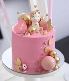 Girly Birthday Cakes, Baby First Birthday Cake, Beautiful Birthday Cakes, Beautiful Cakes, Unicorn Cake Design, Rodjendanske Torte, Girl Cakes, Cute Cakes, Cake Creations
