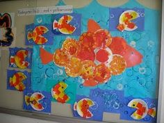 Fine Lines: Kindergarten Colors fish art prohect Swimmy Leo Lionni, Paper Plate Fish, Paper Plates, School Projects, Art Projects, Kindergarten Colors, Kindergarten Inquiry, Back To School Bulletin Boards, Under The Sea Theme