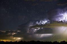 (May, 2012: Night Scene) Lightning under universe.