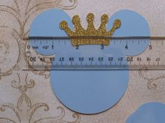 Made using Cardstock by Recollections (Michaels craft store brand) you will receive: 4 Light Blue Head Shapes 4 Gold Glitter Crowns  These are approx. 5 inches across top from ear to ear & approx. 3 inches wide (head circle shape) There is a ruler in the last picture, it is for size reference only Die Cut pieces made by me. DIY Craft Pieces - Do It Yourself, use these pieces to Decorate Bags, make tags, add to Birthday Banners, Invitations...... I have a LIMITED SUPPLY of this Glitter pap...