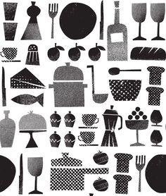 Edholm Ullenius - Stockholm based studio of graphic design & illustration Pattern Illustration, Graphic Design Illustration, Retro Illustration, Deco Design, Design Art, Bar Bistro, Textures Patterns, Print Patterns, Motif Tropical