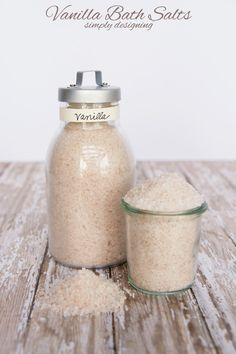 Vanilla Bath Salts DIY tutorial.