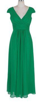 Katherine Styles Green Long Elegant Pleated Waist Mini Sleeves Formal Dress Dress